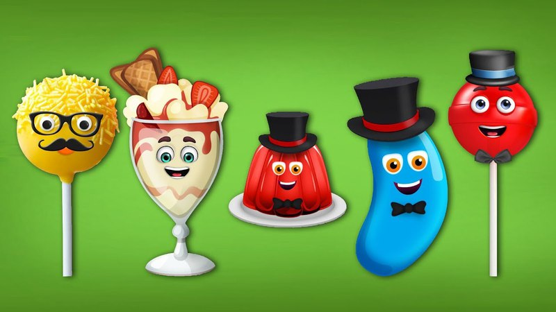 Jelly Bean, Ice Cream, Jelly, Cake Pop and Lollipop Finger Family Songs - Jelly Bean finger songs