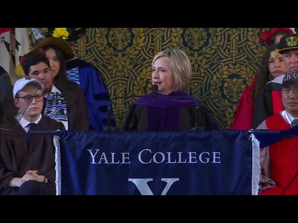 Hillary Clinton makes remarks at Class Day at Yale University.   Sunday, 20 May 2018