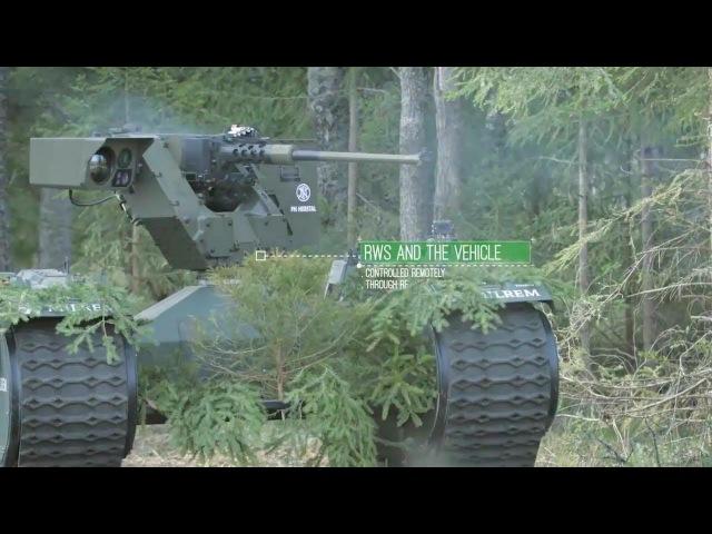 Milrem Estonia Tracked Hybrid Modular Infantry System THeMIS UGV Combat Simulation 720p