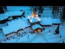 Joulupukin pajakylä ilmasta kuvattuna Rovaniemi Lappi Napapiiri