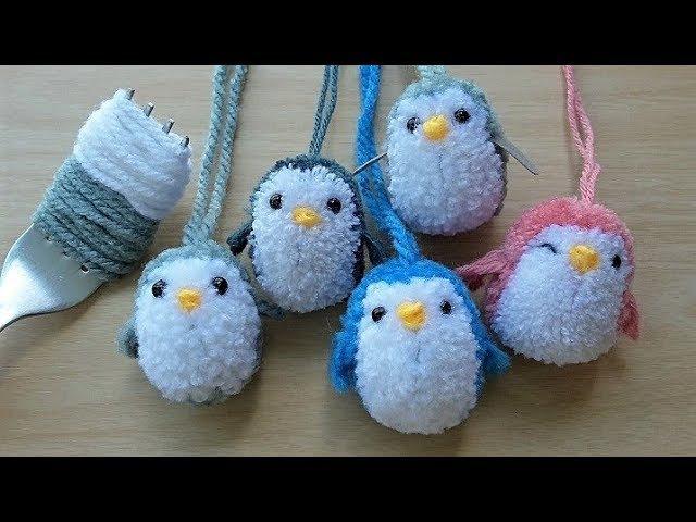 ทำตุ๊กตาปอมปอม-เพนกวินมุ้งมิ้ง How to Make A LittlePenguin PomPom