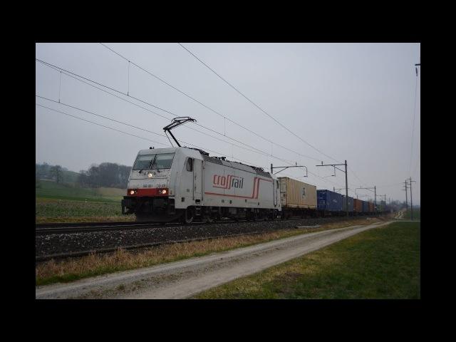 Bahnverkehr auf der Südbahn am 06.02.18 – TX mit ex Crossrail Loks
