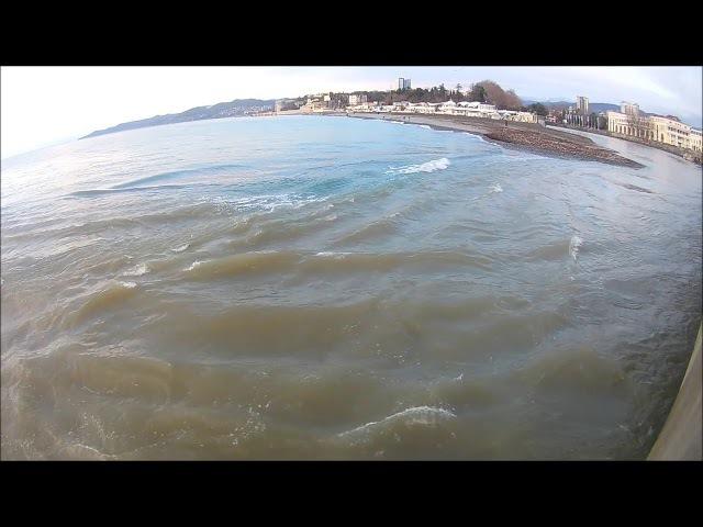 устье реки Сочи. пляж Ривьера. закат