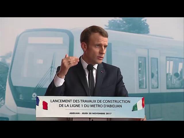 Conférence de presse de Macron au lancement du métro d'Abidjan 30.11.2017