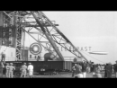 German airship LZ 129 Hindenburg approaches for landing in Lake Hurst Naval Air Stock Footage