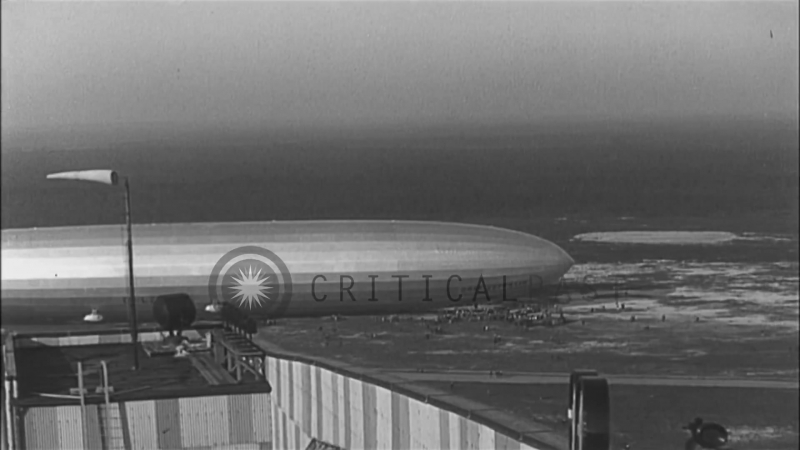 German rigid airship Graf Zeppelin approaches a mast in Lakehurst, New Jersey. HD Stock Footage