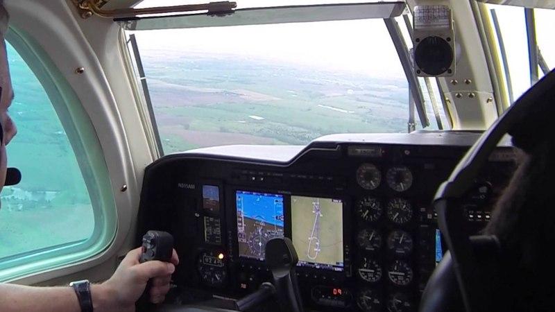 MU-2 Cockpit view Landing