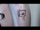 Паула нарисовала шесть психоделически наркоманских татух на красивых ногах пациентки