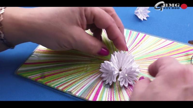 DIY_ Белоснежные мини-резиночки Канзаши на косички _ White mini clip Kanzashi in pigtails