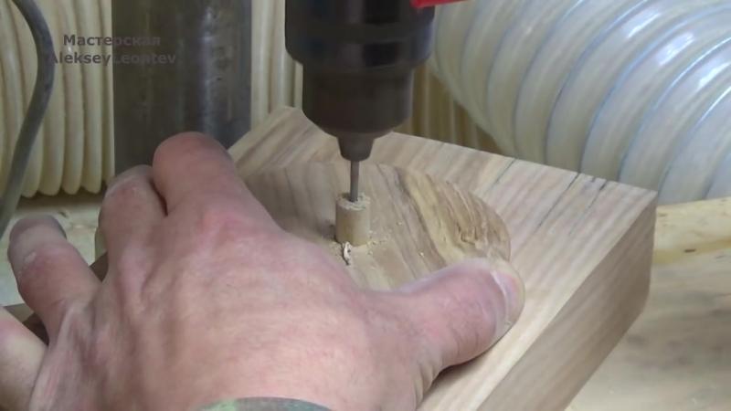 Емкость из дерева с необычной крышкой _ Make a wooden pot