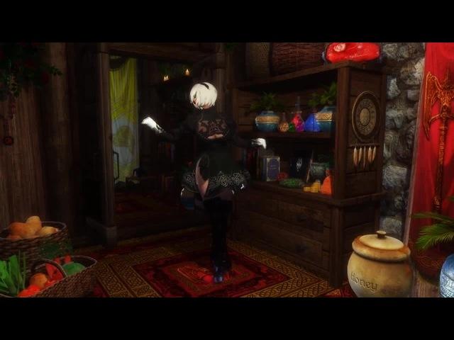 2B dance in Skyrim mod · coub, коуб