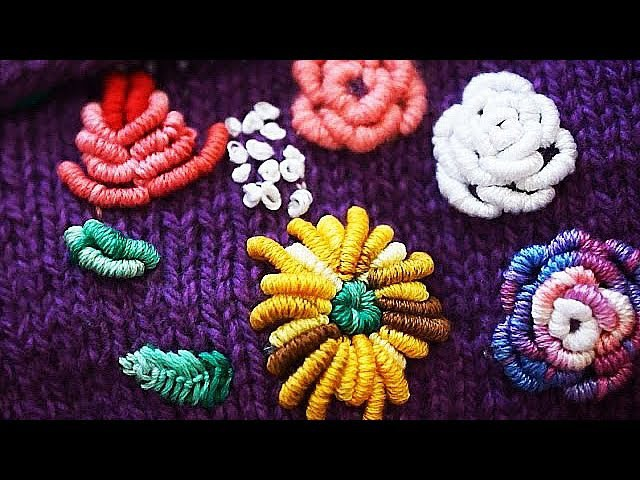 Вышивка по трикотажному полотну embroidery on knitted fabric decoration on booties and gloves