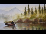 HOW TO PAINT FOG WITH MISTY TREES,MOUNTAINS,WATER AND REFLECTIONS..MORNING WILDERNESS YOU