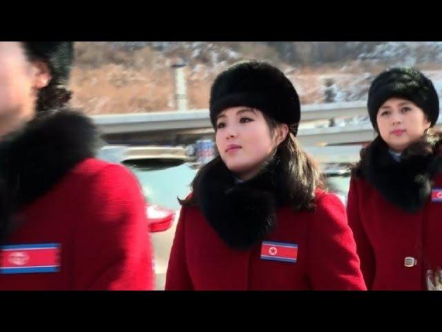 OLY-2018: North Korean cheerleaders arrive in South Korea