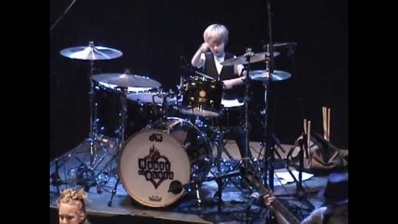 7 year old drummer LOGAN ROBOT GLADDEN performs at the House of Blues in Dallas TX 1 7 11