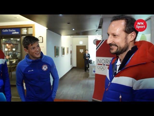 Johannes Høsflot Klæbo møtte med kronprins Haakon etter OL gull Pyeongchang 2018
