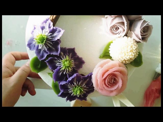 앙금플라워 클레마티스,장미,퐁퐁국화 Clematis,Rose,pompon beanpaste flower piping