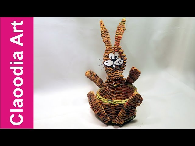 Koszyk zajączek, papierowa wiklina 3 (DIY, Bunny basket, wicker paper)