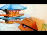 Japan's Pagoda speed drawing, Nachi Falls art video by iSmairu