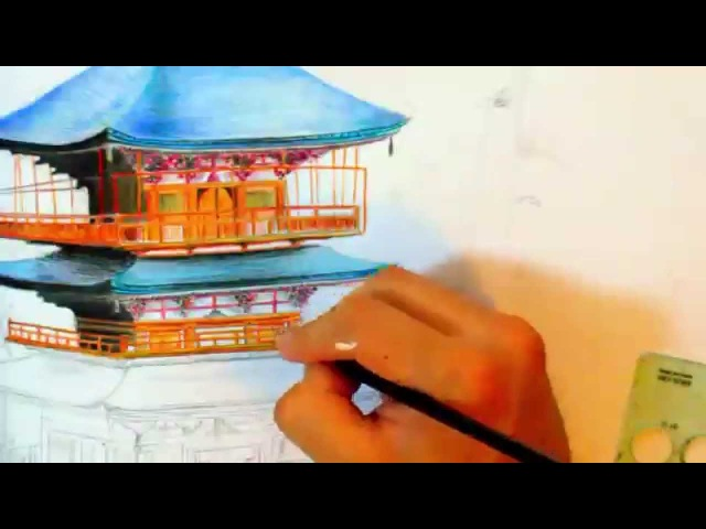 Japan's Pagoda speed drawing, Nachi Falls art video by iSmairu