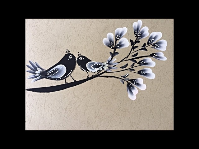 Birds on Branch- Decorative One Stroke Painting