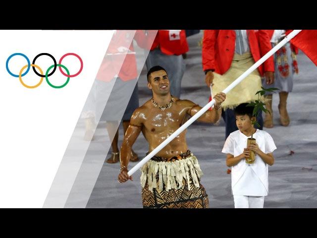 Tonga flag-bearer's oiled torso sparks social media frenzy