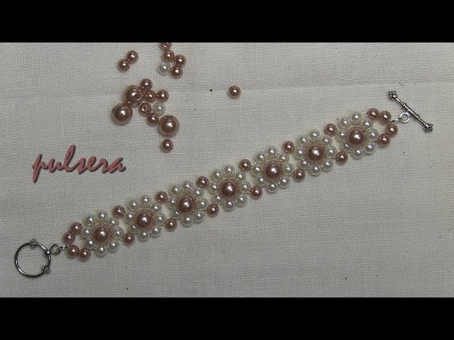 DIY- Tutorial facil- pulsera de perlas flores primavera Easy tutorial- spring flowers pearl bracelet