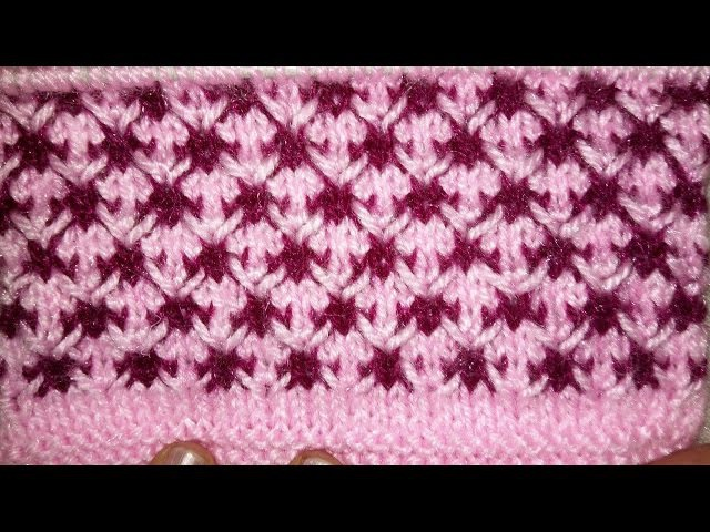 Easy Two Color Knitting Pattern No.35(Thorn Stitch)|Hindi