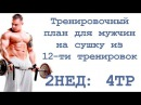 Тренировочный план для мужчин на сушку из 12 ти тренировок 2нед 4тр