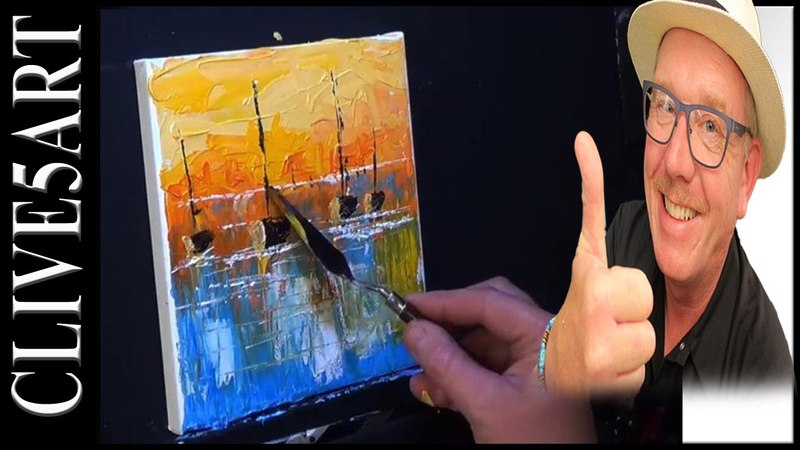 Easy Sunset Boats, Acrylic painting for beginners