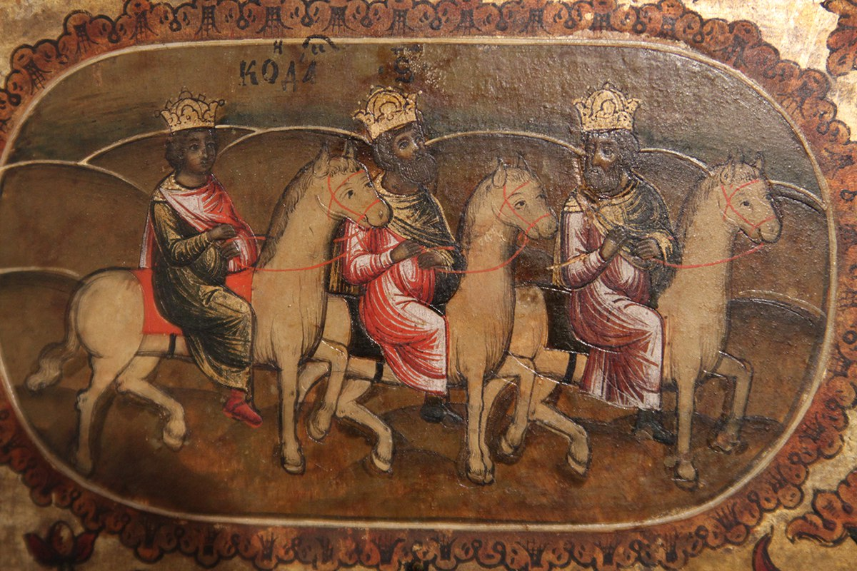Волхвы фрагмент иконы Акафист Богородицы