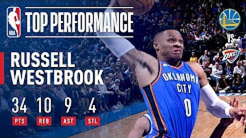 Russell Westbrook Erupts with Near Triple-Double (34_10_9) vs. Warriors Novemb