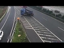 Idiot driver causes multiple lorry crash by stopping in middle of motorway