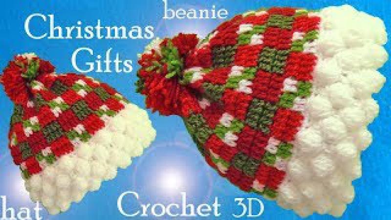 Gorro a Crochet punto Escocés copos de nieve en 3D ideas regalos de Navidad tejido tallermanualperu
