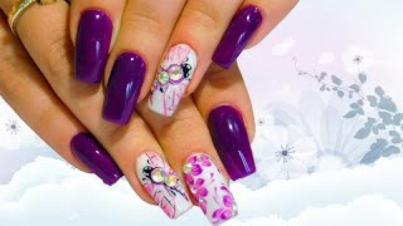 Стрекоза и розовые цветы Красивый и простой весенний дизайн ногтей топ 2017 Nail art.design manicure
