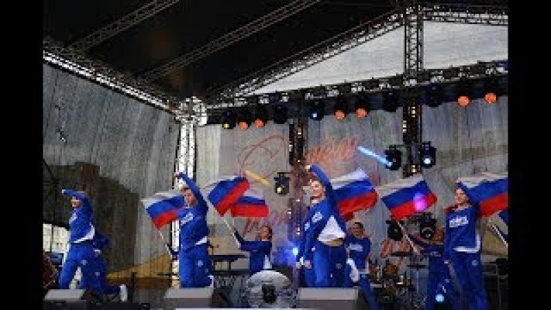 Россия, вперёд (Флаг России), выступление на День города, школа танца TODES-Обнинск,