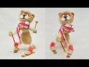 Спортивный Кот лыжник Пошаговый мастер класс по сухому валянию из шерсти для н