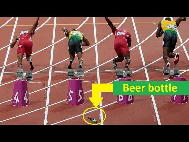 Hooligan throws beer bottle at Usain Bolt Justin Gatlin (HD)
