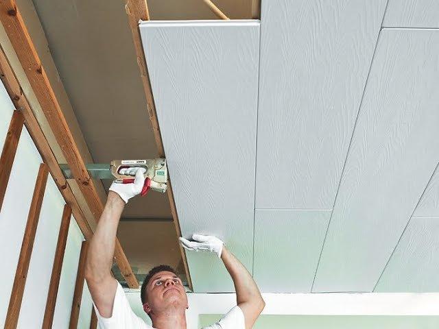 Монтаж декоративных панелей Isotex Изотекс на потолок видео