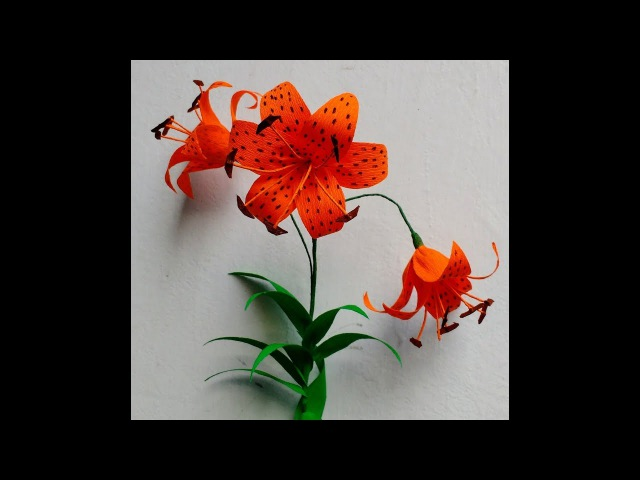 How to make Crepe Paper Flowers Tiger Lily / Lilium lancifolium ( flower 229)