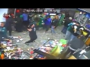 People still lining up to pay for stuff as a gas station is looted in Philadelphia after the Superbowl