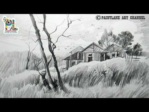 How To Draw A Landscape With Easy Rough Pencil Strokes For Beginners | Simple Pencil Shading