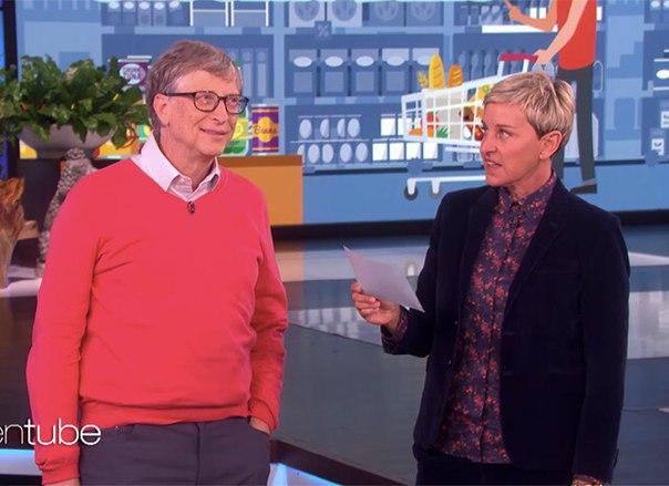 Билл Гейтс принял участие в телешоу Эллен Деджнерес, которая устроила ему шуточное испытание