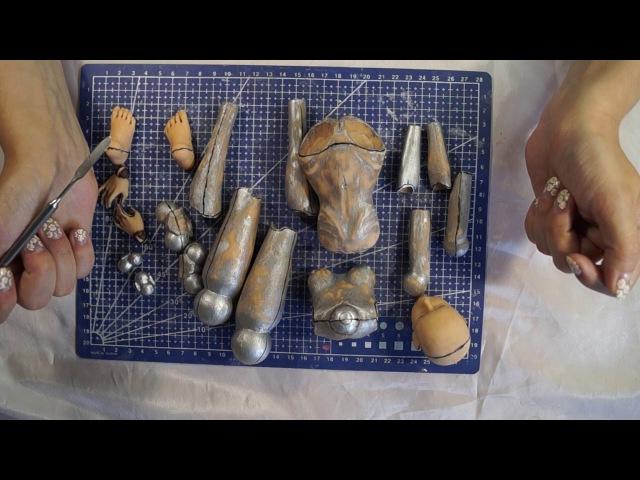 Шарнирная кукла своими руками с нуля часть 13. Гипсовая форма