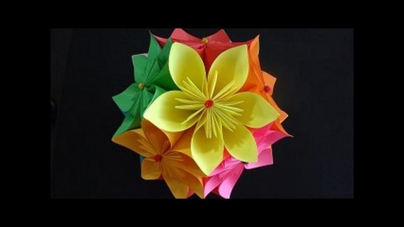 Origami Çiçek Topu Nasıl Yapılır - Origami Flowers - Türkçe Anlatım - Kusudama