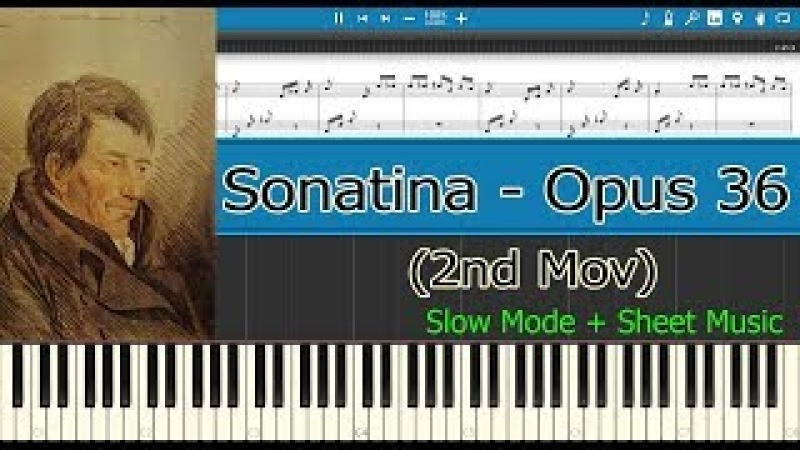 Sonatina Opus 36 N° 1, Opus 36, 2nd Mov - Clementi [Slow Sheet Music] (Piano Tutorial)