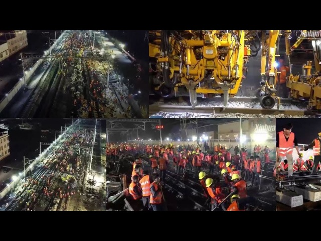 Unbelievable Speed of Manpower! 1,500 Chinese Workers Completed Railway Construction in 8.5 Hours