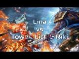 Dota 2. Miki. Lina vs Tower, Lich &amp Riki.