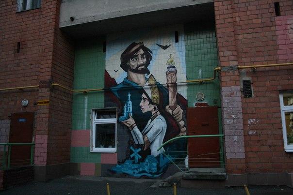 Серия классных местячковых граффити в Нижнем: кокошники и церкви