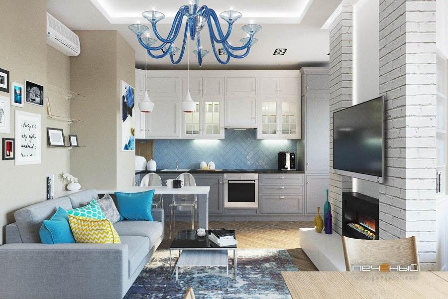 Проект студии из однокомнатной квартиры без точного метража.